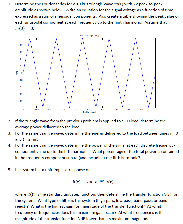 Solved: 1  Determine The Fourier Series For A 10-kHz Trian