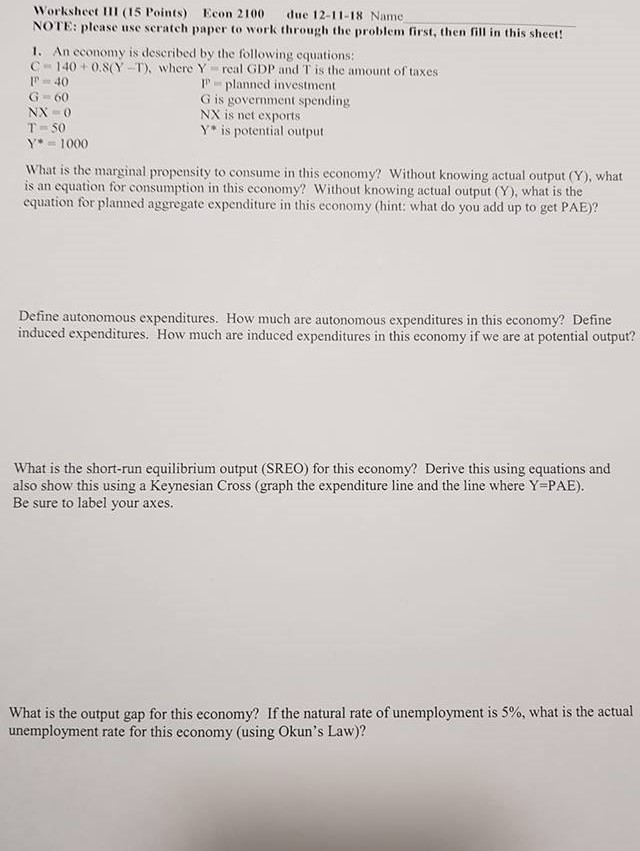Solved: Worksheet (15 Points) Econ 2100 Due 12-11-18 Name ...