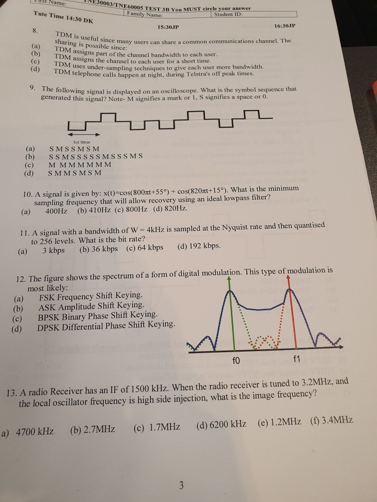Solved: TNE 30003/TNE60005 TEST 3B You MUST Circle Your An