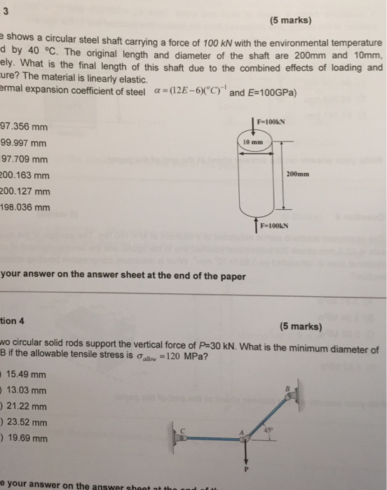 5 Marks E Shows A Circular Steel Shaft Carrying Force Of Temperature D