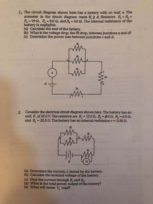 Solved L The Circuit Diagram Shown Here Has A Battery Wi