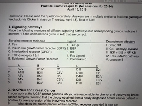 Practice Exam/Pre-quiz # 1 (for Sessions No  20-24