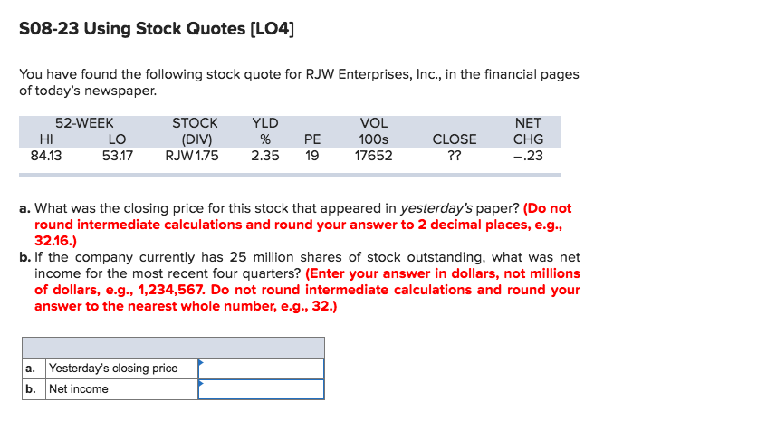 Solved S6060 Using Stock Quotes [LO60] You Have Found The Beauteous Stock Quotes Today