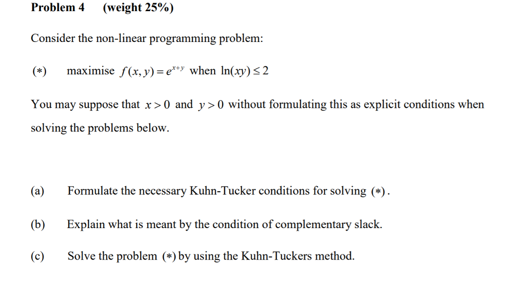Solved: Problem 4 (weight 25%) Consider The Non-linear Pro