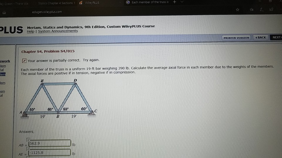 Solved: Statics Chapter 4 Sections 1 Wley PLUs Een Each Me