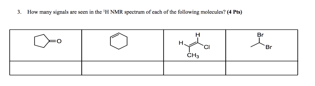 . How many signals are seen in the H NMR spectrum of each of the following molecules? (4 Pts) Br Br CI СНз
