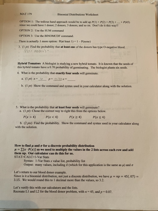 Solved: MAT 179 Binomial Distributions Worksheet OPTION 1 ...