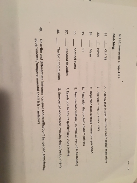 Solved: MLS 101 Homework 1 Page 4 Of 4 Matching 32. ㅡㅡ C ...