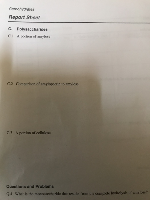 Carbohydrates Report Sheet C Polysaccharides C1 A Portion Of Amylose C2