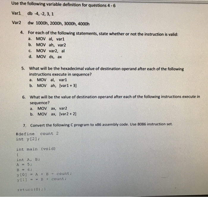 Solved Use The Following Variable Definition For Question