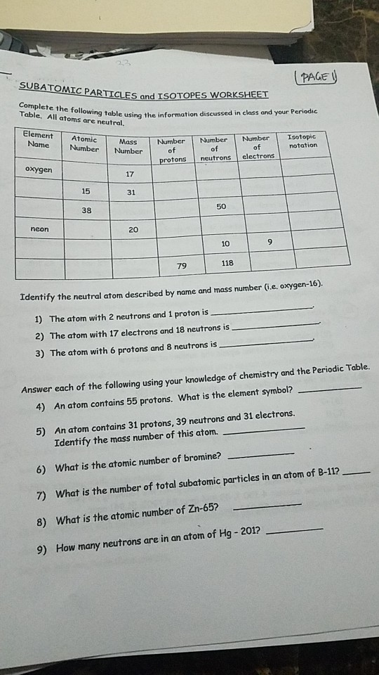 Solved: PAGE C PARTICLES And ISOTOPES WORKSHEET Table, All