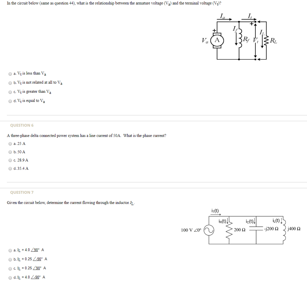 solved in the circuit below same as question 44 what i Three-Phase Power Electrical Degree Separation in the circuit below same as question 44 what is the relationship between