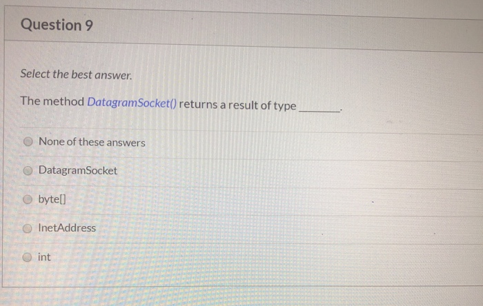 Question 9 Select The Best Answer  The Method Data