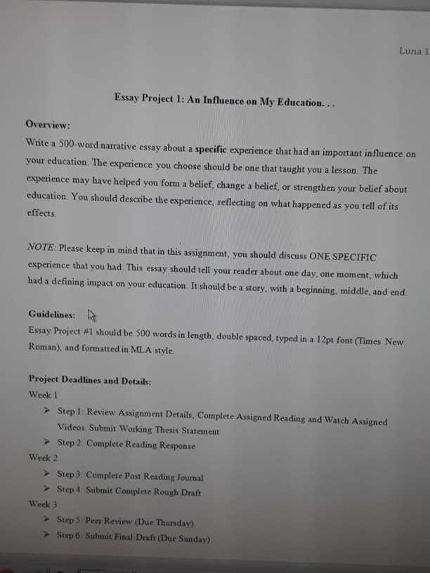 Definition Of Essays Luna  Essay Project  An Influence On My Education Overview How To Write And Essay Conclusion also Essay On Veterans This Is For My English Class I Need Help Doing Th  Cheggcom Excellent Essay Writings