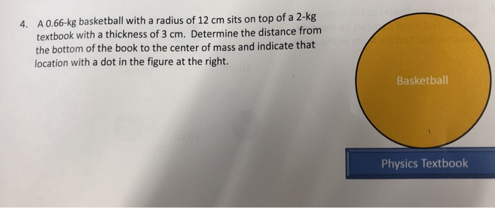 A 0.66-kg basketball with a radius of 12 cm sits on top of a 2-kg textbook with a thickness of 3 cm. Determine the distance f