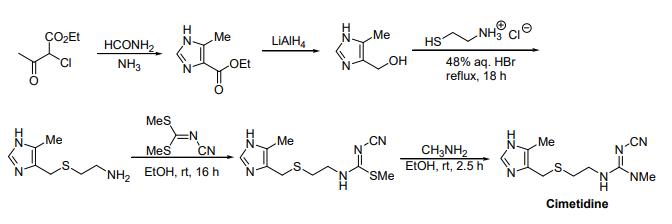 O2Et LiAIH4 NMe HCONHH HS 48% aq. HBr reflux, 18 h NH OEt N﹀Me N N﹀Me NH2 EtOH, rt, 16 hN EtOH, rt, 2.5 h Cimetidine