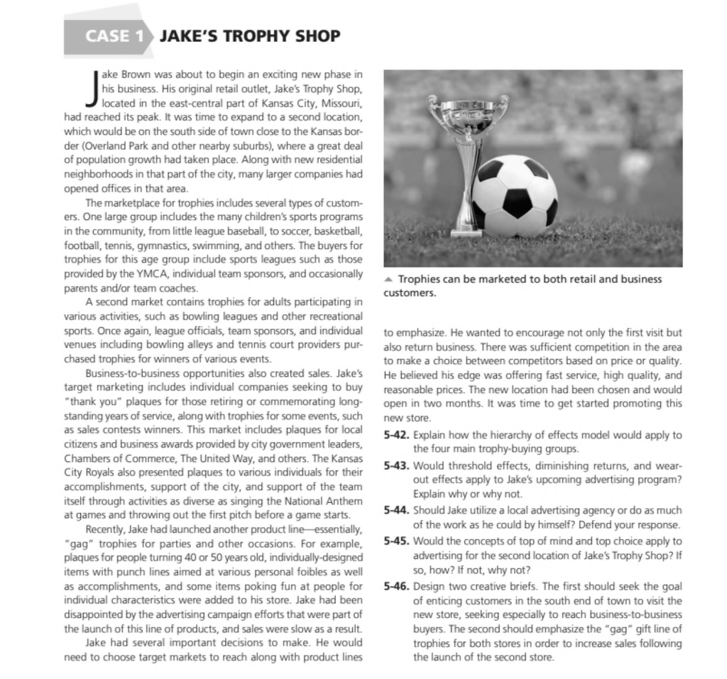 Solved: CASE 1 JAKE'S TROPHY SHOP Ake Brown Was About To B