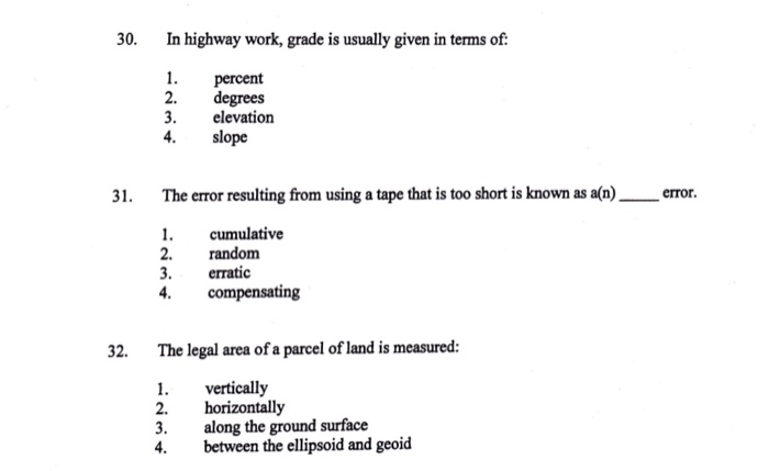 30 In Highway Work Grade Is Usually Given In Terms Of 1