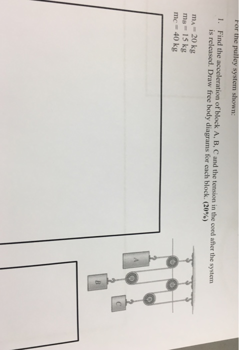 Solved Ror The Pulley System Shown Find The Acceleration