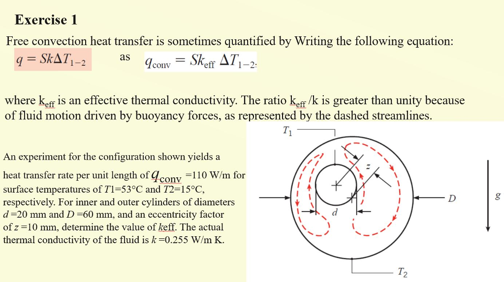 Solved: Exercise 1 Free Convection Heat Transfer Is Someti
