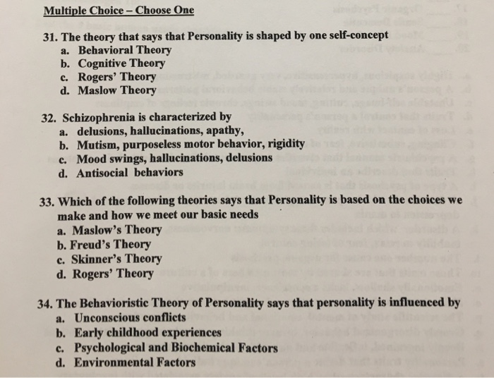 personality psychology multiple choice questions