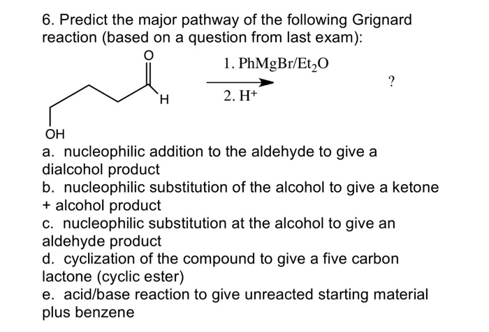 Solved: Predict The Major Pathway Of The Following Grignar