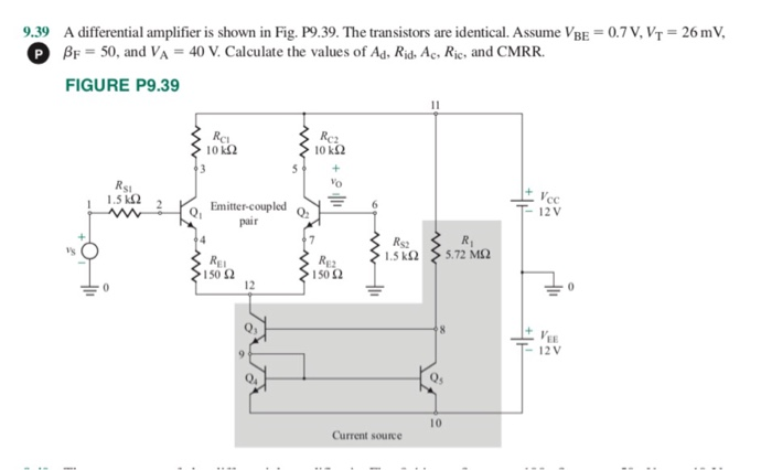 9.39 A differential amplifier is shown in Fig. P9.39. The transistors are identical. Assume VBE 0.7V, VT 26 mV β 50, and V,-40 V. Calculate the values of Ad, Rid-Ac, Ric, and CMRR. FIGURE P9.39 10 k2 10 kΩ SI 1.5k2 2 o, Emitter-coupled Rsz Sk5.72 M2 150Ω 150Ω 12 0 - 12V Current source