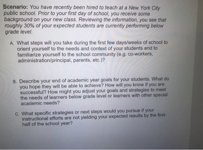 question scenario you have recently been hired to teach at a new york city public school prior to your f