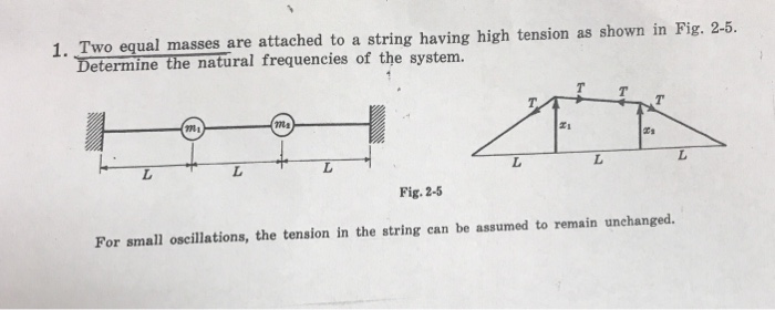 1. Two equal masses are attached to a string having high tension as shown in Fig. 2-5. Determine the natural frequencies of the system. Fig. 2-5 For small oscillations, the tension in the string can be assumed to remain unchanged.