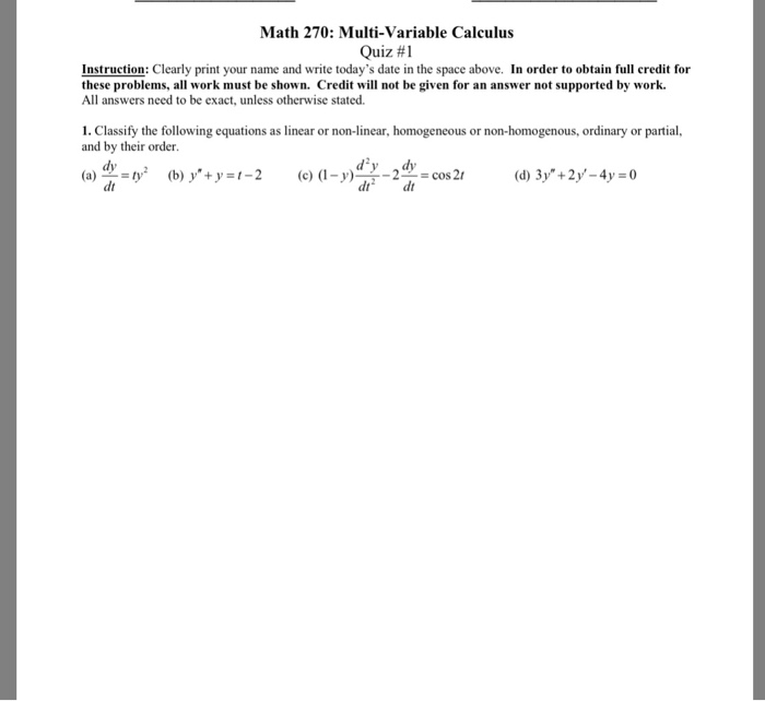 Solved: Math 270: Multi-Variable Calculus Quiz #1 Instruct