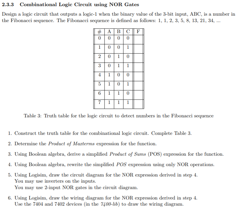 2 3 3 combinational logic circuit using nor gates design a logic circuit  that outputs a