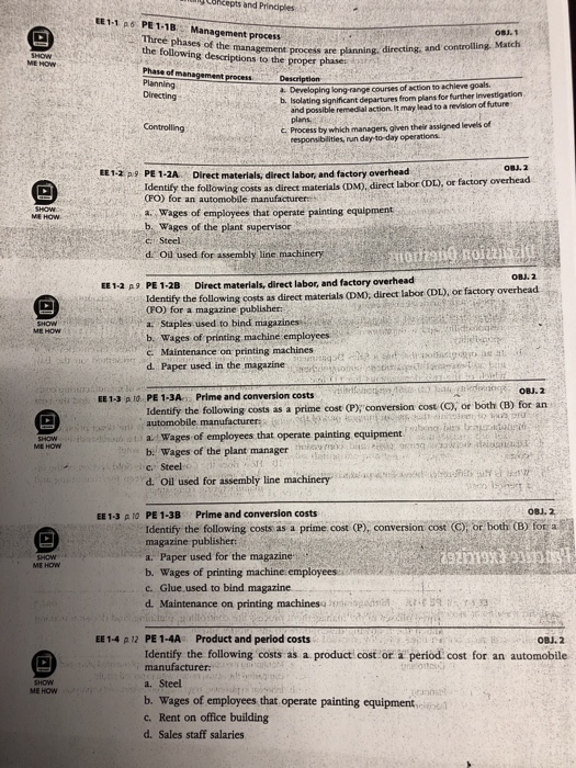 Solved: Cbkcepts And Prindples EE1-1 P6 PE 1-1B Management