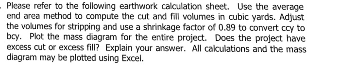 please refer to the following earthwork calculation sheet use the average end area method to