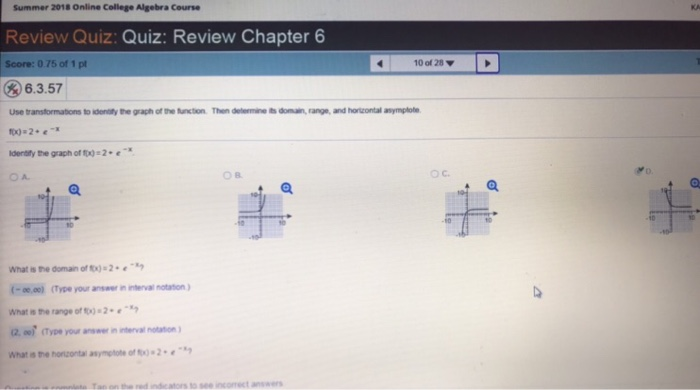 Solved: Summer 2018 Online College Algebra Course Review Q