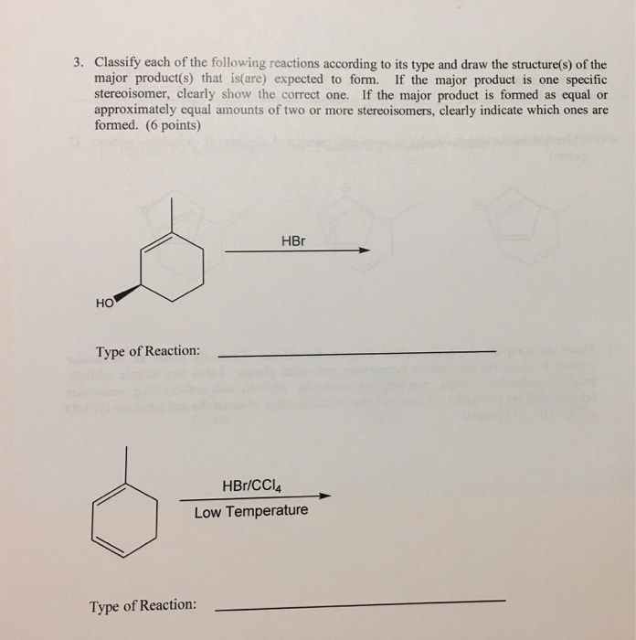 Solved 3 Classify Each Of The Following Reactions Accord