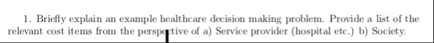 1. Briefly explain an example healthcare decision making problem. Provide a list of the relevant cost items from the perspgtive of a) Service provider (hospital etc.) b) Society.