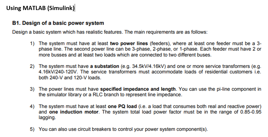 Solved: Using MATLAB (Simulink) B1  Design Of A Basic Powe