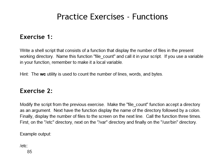 Solved: Practice Exercises - Functions Exercise 1: Write A