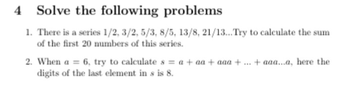 4 Solve The Following Problems 1 There Is A Series 2 3