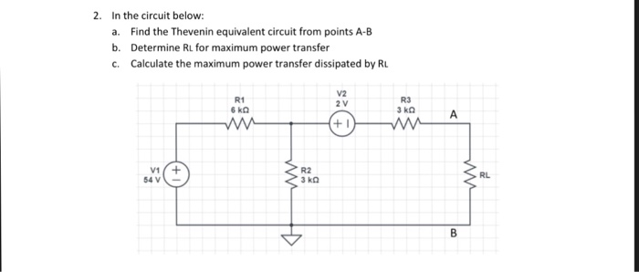 In The Circuit Below A Find Thevenin Equivalent From Points