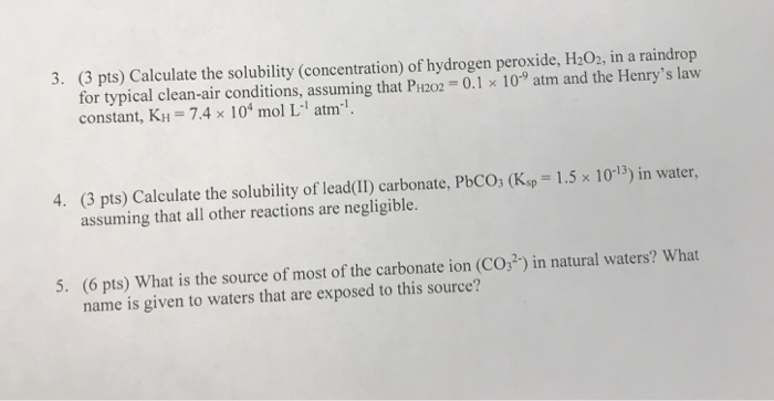 Solved: 3  (3 Pts) Calculate The Solubility (concentration