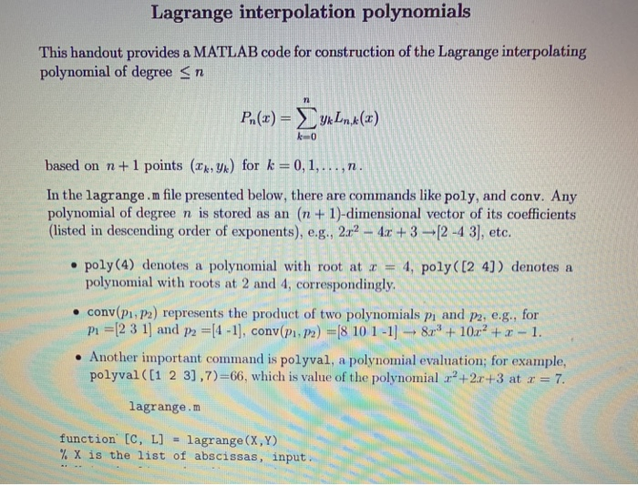 Solved: E Poly (4) Denotes A Polynomial With Root At 4, Po