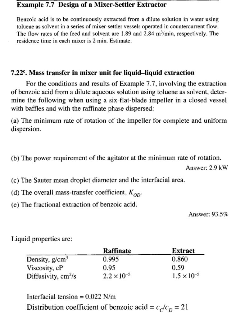 Example 7 7 Design Of A Mixer-Settler Extractor Be