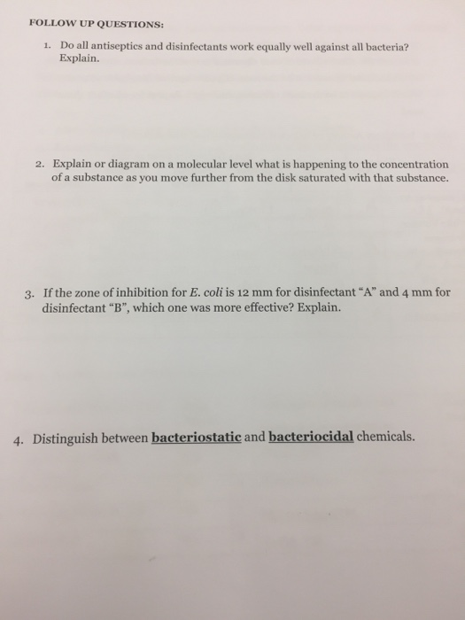 Solved do all antiseptics and disinfectants work equally follow up questions 1 do all antiseptics and disinfectants work equally well against all ccuart Image collections