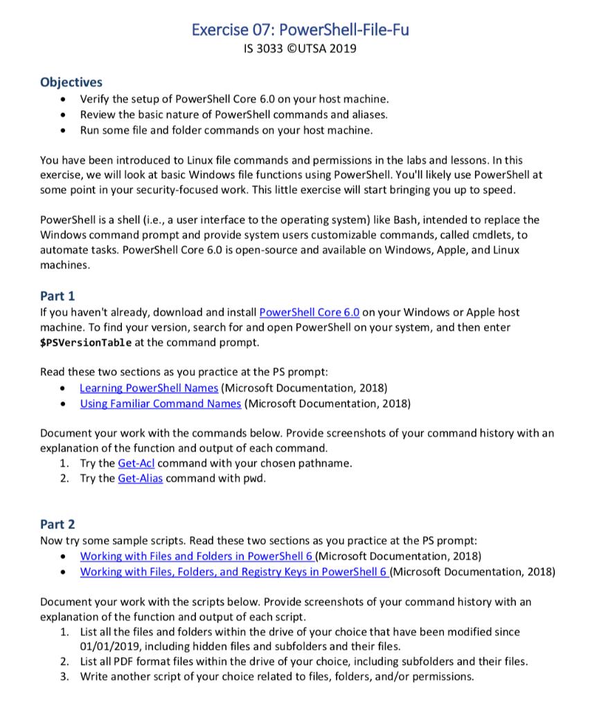 Exercise 07: PowerShell-File-Fu IS 3033 OUTSA 2019    | Chegg com