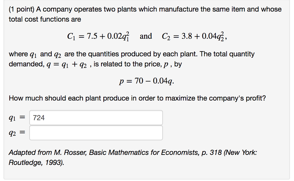 Solved: (1 Point) A Company Operates Two Plants Which Manu