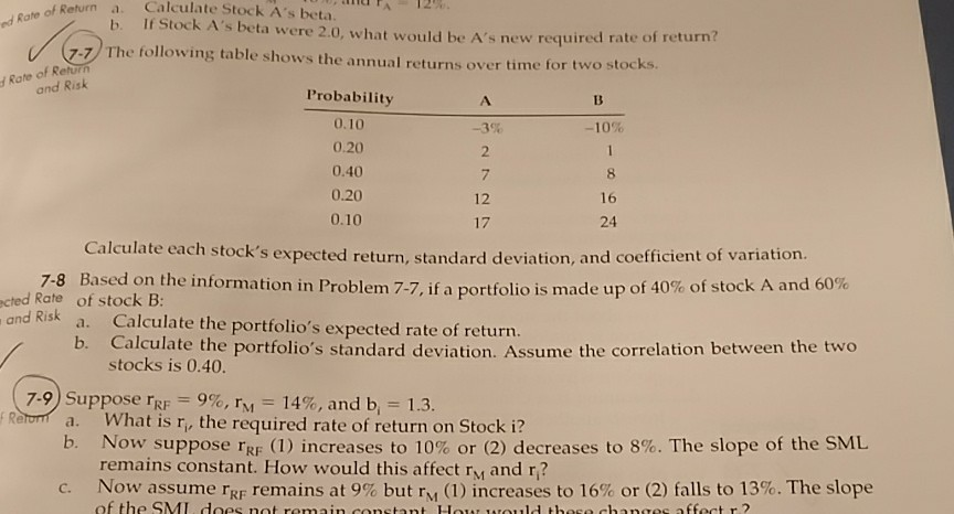 Solved: E Of Return A  Calculate Stock A's Beta  B  If Sto