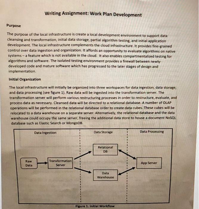 Writing Assignment: Work Plan Development Purpose