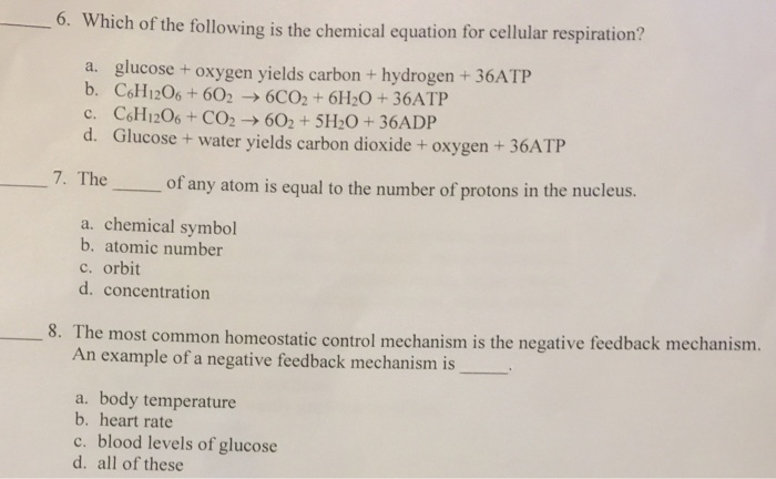 Solved Which Of The Following Is The Chemical Equation Fo