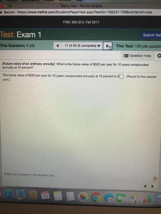 65aa399d0 Solved: Take A Test Patrick Qui Secure Https://www.mathxl ...